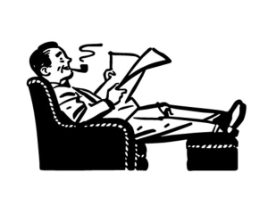 Man Relaxing In Easy Chair - Retro Clipart Illustration